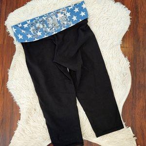 PINK Yoga Sequin Capri Leggings Blue White Star